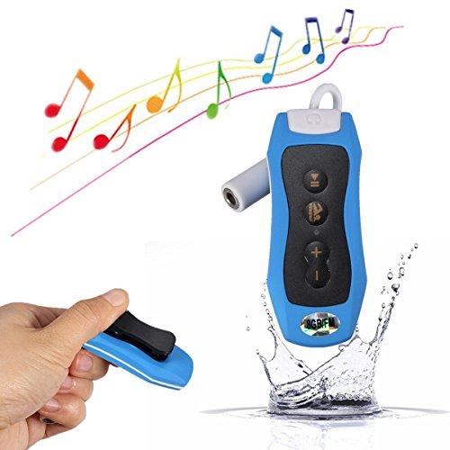 Y & M (TM) impermeable reproductor de mp3, 100% 8GB portátil bajo el agua resistente al agua IPX8MP3reproductor de música con Radio FM para natación y buceo deportes azul