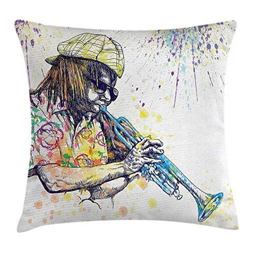 Heekie Cuscino Divano Decor Jazz Music Decor Throw Pillow Cushion Cover, Trumpeter with Paint Splashes at The Background Entertainment Vivid Art, Decorative Square Accent Pillow Case, Purple Yellow