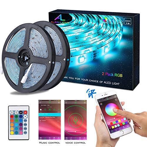 Striscia LED RGB 10M Musica, ALED LIGHT LED Strip Bluetooth RGB Striscia, IP65 Impermeabile 12V...