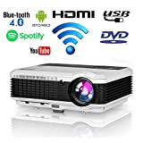 Wireless Bluetooth LED Projector 4600 lumens HD HDMI Airplay Wifi LCD Android Bluetooth 1080P for Home Cinema Outdoor Movie Game Party TV Projector iPhone iPad Mac Laptop PC Tablet Phone DVD PS4