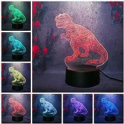 Yangll Cool 3D Jurassic Park Tyrannosaurus Dinosaurio Luces Nocturnas 7 Colores Luces Led Niños Regalos De Navidad Dormitorio Luz Juguetes Kid Lámpara