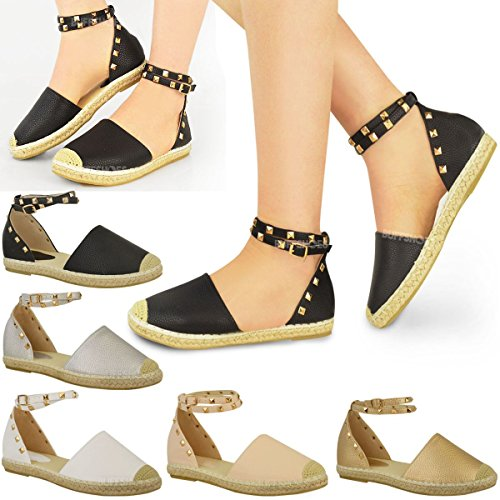 c98721ca228c Fashion Thirsty Womens Ladies Espadrilles Ankle Strappy Flat Summer Sandals  Rock Stud Shoes Size - SixtySomething - Over Sixty Lifestyle Magazine