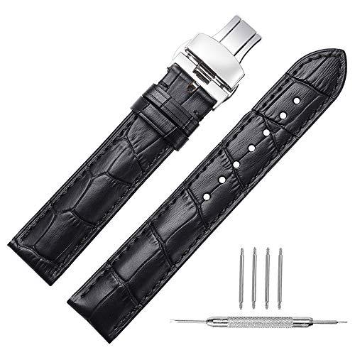 Cinturino orologio 14mm 16mm 18mm 19mm 20mm 21mm 22mm 24mm cinturino in vera pelle di vitello sostituzione cinturino con bottone fibbia a bottone a farfalla CHIMAERA