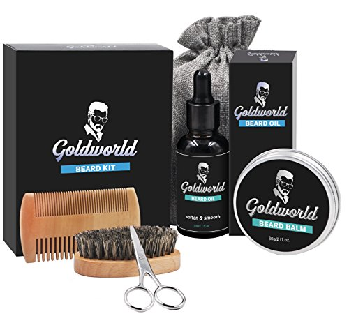 GoldWorld Beard Growth Kit for Dad/Men Gift Sets w/Unscented Beard Conditioner Oil+Beard Balm+Beard Comb+Beard Brush+Beard Scissors+Storage Bag for Grooming/Shaping
