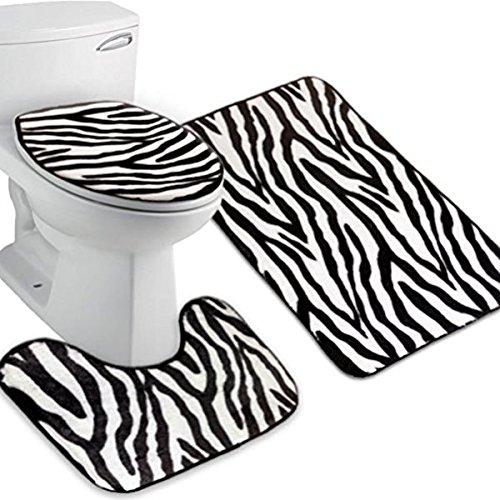 Pixnor - Set tappetini bagno 3pezzi (motivo zebrato)