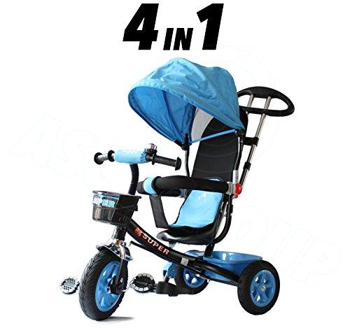 Childs 4in 1Trike-blu e nero-Pedale da spingere bambini triciclo approvato