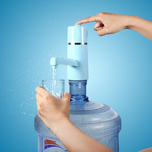 Dispensador de Bomba de Agua Recargable Dispensador Inalámbrico Eléctrico USB para Hogar y Oficina (Azul)