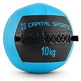 Capital Sports Wallba 10 Wall Ball Leder Medizinball 10kg Trainingsgewicht (Kunstleder, klassisches Design, extra griffiges Handling) dunkelblau