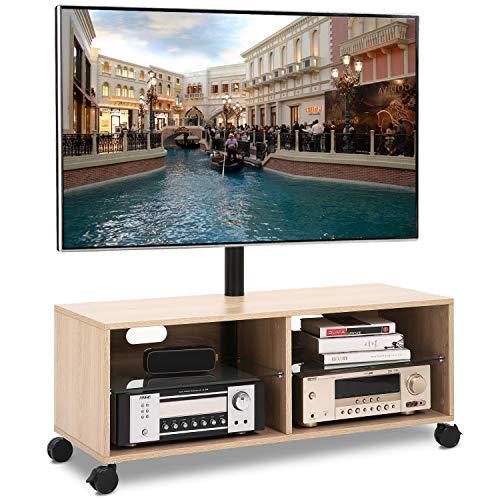 RFIVER Mobile TV con Ruote da Pavimento Mobiletti per Soggiorno Girevole Porta TV Stand per Schermi...