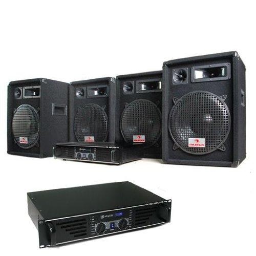 DJ set 'Marrakesch Lounge PRO' impianto audio completo (4 casse AUNA diffusori 2400 Watt totali, 2 amplificatori SKYTEC finali di potenza, cavi per collegamento)