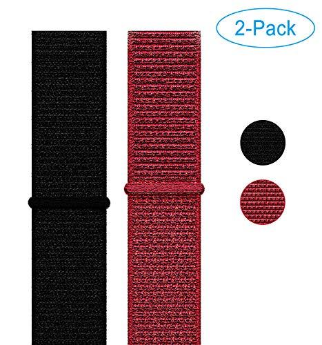 Naomo Compatibile con Watch Cinturino 38mm/40mm, Nylon Cinturini di Ricambio per Series 5/Series 4/Series 3/Series 2/Series 1 (38mm/40mm, Nylon 2-Pack Nero+in profondità Rosso)