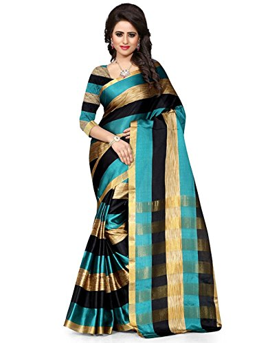 Sarees (for Women Party Wear offer Designer Sarees New Collection Today Low Price Sarees in Multi-coloured Cotton Silk Material Latest Saree With Designer Blouse Free Size Beautiful Bollywood Sarees With Blouse)
