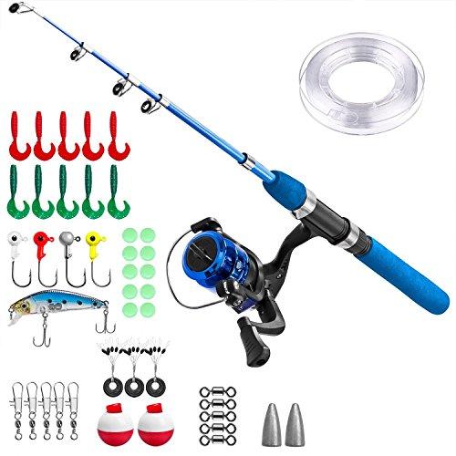 Canna da Pesca Bambino,Set da Pesca per Bambini,Set di Canne da Pesca per Bambini con Mulinello da Pesca ed Esca(Manico blu)