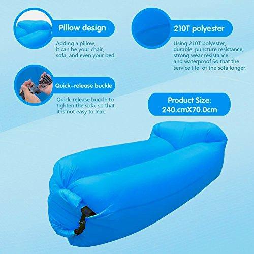 Hochwertige Premium Wasserdichtes aufblasbares Sofa, Luft sofa,Luft couch, mit integriertem Kissen, tragbarer aufblasbarer Sitzsack, Aufblasbare Couch, aufblasbares Outdoor-Sofa, lazy lounger für Camping, Park, Strand, Hinterhof , Wasser Aktivitaeten(blau) - 2