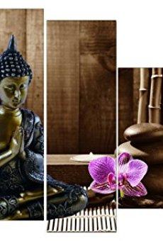 Dekoarte 113 – Cuadro moderno en lienzo de 5 piezas,  estilo zen-feng shui buda dorado con rama cerezo, 150x100cm