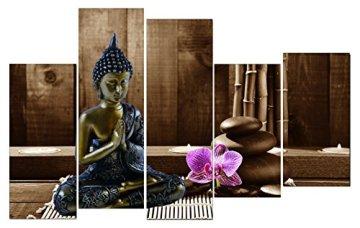 Dekoarte 113 - Cuadro moderno en lienzo de 5 piezas,  estilo zen-feng shui buda dorado con rama cerezo, 150x100cm 3