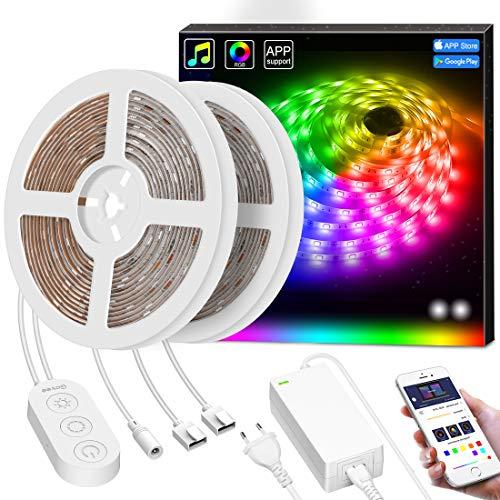Smart Led Streifen Dreamcolor, MINGER 10M LED Strip Sync mit Musik, Heller 5050 led Band Leiste gesteuert mit Controller & APP, Wasserdicht Selbstklebend LED Schlauch für Innenbereich & Außenbereich