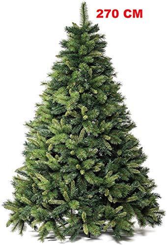 Emmeshop-Online Albero di Natale Verde Pino Super folto Realistico Ignifugo cm 180 210 230 270 300 360 (270 cm)