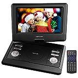 10.5'' Tragbarer DVD-Player, 4 Stunden Akku, schwenkbaren Bildschirm, unterstützt SD-Karte und USB, mit Spiele-Joystick, Auto-Ladegerät--Schwarz