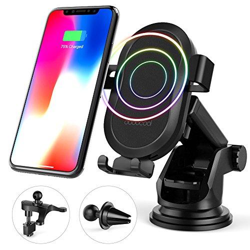 dodocool Caricabatteria Wireless Auto,Caricatore Senza Fili Qi 10W, Supporto del Cellulare per Samsung Galaxy Note8/S8/S8 Plus/S7/S7 edge/Note5/S6 Edge Plus/iPhone X/8 Plus/8 Nero (1 Bobina)