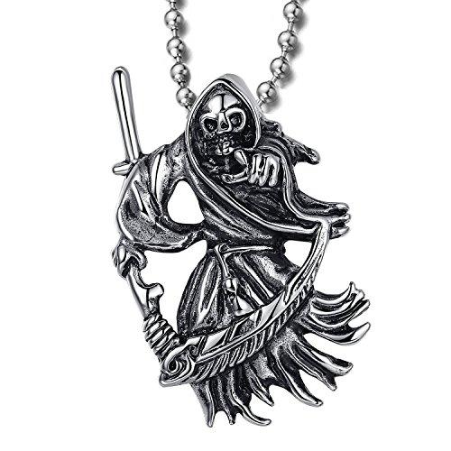MENDINO para hombre acero inoxidable colgante Muerte Parca cráneo con una guadaña apuntando a algo color plateado con cadena de 22pulgadas
