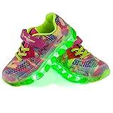 Opticos de Fibra Zapatos,A-Best LED Zapatos 7 Colores 4 Mods Recargables USB Light Up Zapatos Deportivos Súper Ligeros LED Zapatillas para Hombres y Mujeres