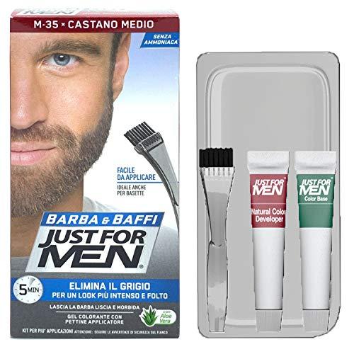 Just For Men, Gel colorante per barba e baffi, con applicatore a pennello, colore: Marrone medio