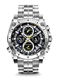 Bulova Precisionist Chronograph Men's UHF Watch with Black Dial Analogue Display and Silver Stainless Steel Bracelet 96B175