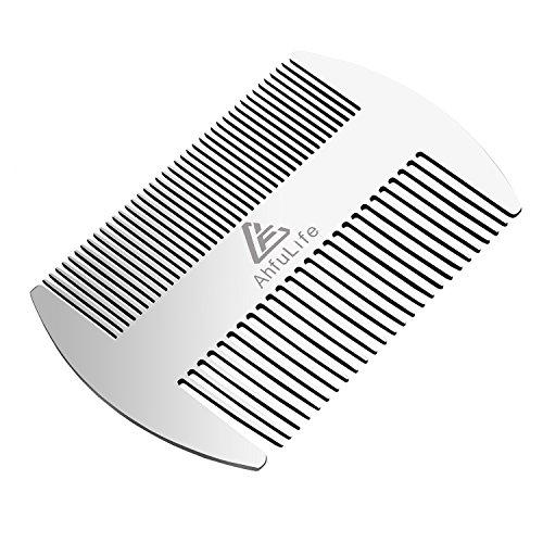 Pettine per barba Ahfulife doppia azione in acciaio INOX Edc formato carta di credito pettine in pettine tascabile pettine antistatico pettine barba baffi pettine per uomo