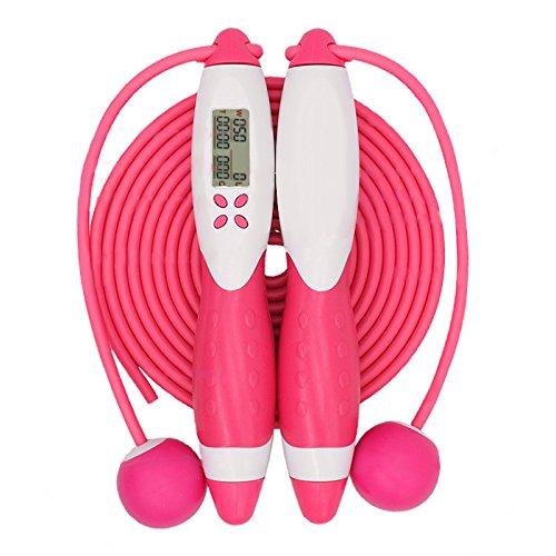 Lanlanl Compteur Jump Cordes Fitness Sport Corde à sauter avec ou sans fil Digital Counting Cordes, rose