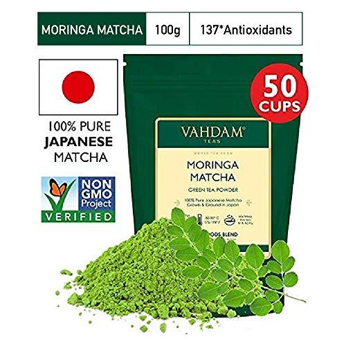 VAHDAM, Moringa Matcha Grüner Tee   100{7724f43e5ad507097b851ca713534f8eeb83e813c3cedb5c05dcb7c540d0f35a} REINER japanischer Herkunft Matcha-Teepulver   137x ANTI-OXIDANTEN   Grüner Tee für Gewichtsabnahme & Detox für den Alltag   Japans SUPER FOOD