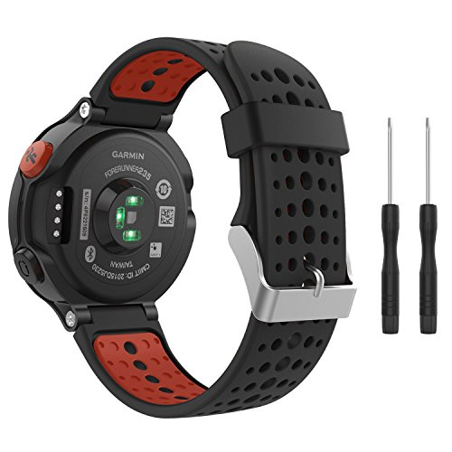 fit-power Garmin Forerunner 235 Watch, morbido silicone sostituzione Watch Band per Garmin Forerunner 235/220/230/620/630/735 Smart Watch, Black&Orange