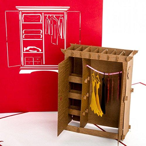 """POP UP 3D Karte\""""Kleiderschrank\"""" - lustige 3D Geburtstagskarte & Glückwunschkarte als Gutschein, Geldgeschenk, Geschenkverpackung, Shopping-Gutschein & Einkaufsgutschein zum Shoppen"""