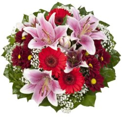 """floristikvergleich.de Dominik Blumen und Pflanzen, Blumenstrauß""""Charlotte"""" mit rosa Lilien"""