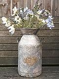 Large Antique Vintage Style French Grey Metal Milk Churn Garden Planter Vase