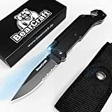 BearCraft Klappmesser mit **GRATIS eBook** | Outdoor Survival Taschenmesser mit Wellenschliff | Rettungsmesser mit Mini-LED Taschenlampe Feuerstein Glasbrecher und Gurtschneider