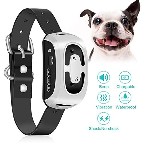 Volwco USB Rechargeable Anti Bark Waterproof Humane Dog Training Collar with Digital Display and Auto-Protection System for Small Medium Large Dogs (Silver)