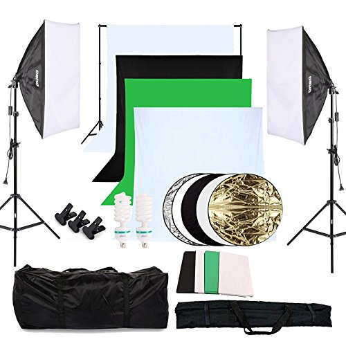OUBO Kit di Illuminazione Fotografica Continua Softbox Studio Kit Sfondo Fotografico 50x70cm Softbox...