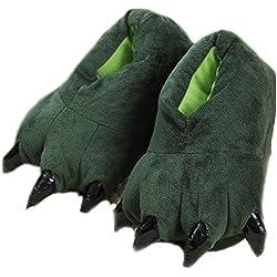 LANFIRE Zapatillas de casa de Felpa Suave Unisex Animal Disfraz de Pata de Garra (S(tamaño del niño 28-34), Verde(Green))