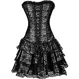 71ddab8bd1 Czj-Innovation De las mujeres Gótico Sin tirantes Corsé con Vestido de  encaje (2XL