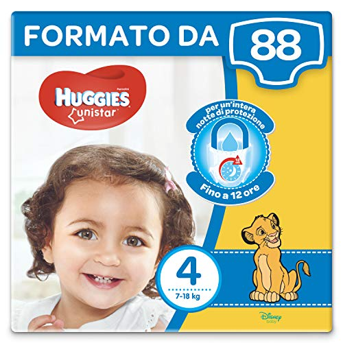 Huggies Unistar Pannolini, Taglia 4 (7-18 kg), Confezione da 88 Pannolini