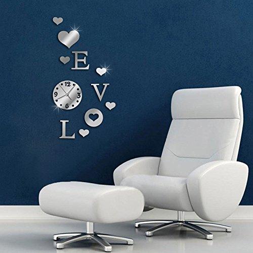 Vetrineinrete Orologio da parete adesivo sticker componibile tridimensionale 3D effetto specchio decorazione murales scritta LOVE verticale 0429S
