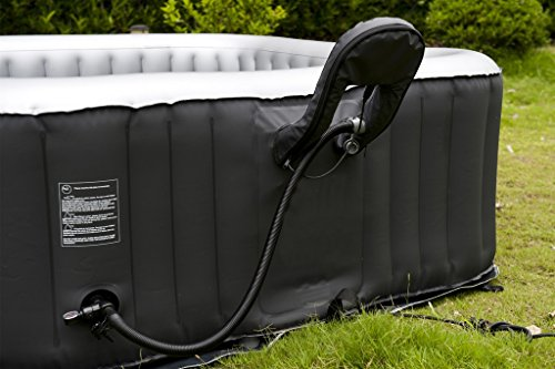 This model includes a pump and heater unit that is built into the tub wall, unlike the external heating systems that are common with most other inflatable hot tubs which have a big egg unit next to the hot tub.