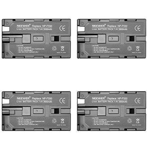 Neewer 4pz Batteria di Ricambio 2600mAh per Sony NP- F550/570/530, Ricaricabile per Sony HandyCam, Luci LED Neewer CN-160 CN-216, Monitor da Campo Neewer 759 74K 760 Feelword 759 74K 760