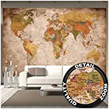 Great Art Fototapete - Weltkarte - Wandbild Used Look Dekoration Old School Vintage World-Map Globus Kontinente Atlas Retro - Weltkugel Geografie Wandtapete (336 x 238 cm)