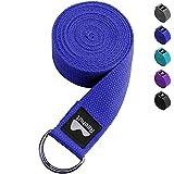 REEHUT Correa para Yoga - Cinturón con Hebilla Metal D-Anillos de Poliéster Algodón Resistente para Ejercicios de Estiramiento, Fitness, Pilates y Flexibilidad (Azul Oscuro,2.4m,8ft)