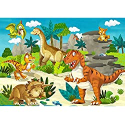Fotomural, 300x 210cm Premium Plus fotográfico pintado–cuadro de pared–My First dinosaurios–Papel pintado para habitación infantil Dino dinosaurios prehistóricos Trex–No. 119