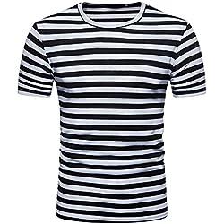 FAMILIZO Camisetas Manga Corta Hombre Moda Camisetas Hombre Algodón Camisetas Hombre Verano Blusa Hombre Manga Corta Tops Camisetas Hombre Rayas T Shirts For Men Blusa Hombre Blanca (L, Negro)