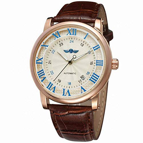 Male Watch, Casual Simple Round Dial Wristwatch Mechanical Movement Wrist Watch with Wear-Resistant PU Leather Watch Band(White+Blue+Rose Gold)