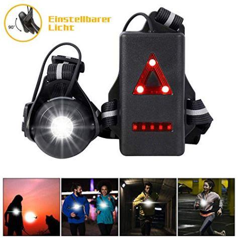 WESTLIGHT Lauflicht in der Brust, 90° Einstellbarer Abstrahlwinkel, wiederaufladbare, 500 Lumen, 360° reflektierendes Band, wasserdichte USB-Nachtlichter mit LED-Beleuchtung